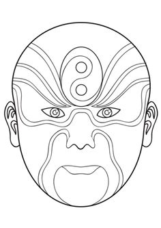Chinese Opera Mask 5 coloring page from Masks category ...