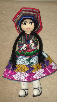 South American Doll, Peasant Girl Doll, Ethnic Doll, Cloth Fabric Doll, Handmade Doll, Folk Art, Collectible Doll by TrendyThangz on Etsy