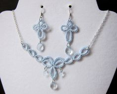 Tatted Necklace and Earring Set - Bridal Blue Crystal $40.00 usd