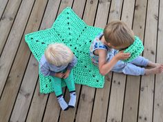 A personal favourite from my Etsy shop https://www.etsy.com/no-en/listing/537232090/handmade-crochet-mint-nursery-rug-star