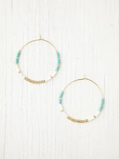 Free People Beaded Zoe Hoops at Free People Clothing Boutique