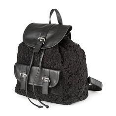 Black Floral Crochet Overlay Backpack