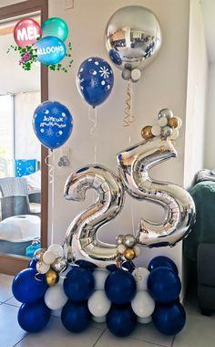 Happy Birthday Decor, Blue Birthday Parties, Birthday Balloon Decorations, Birthday Balloons, Birthday Party Decorations, Happy Balloons, Decoration Evenementielle, Balloon Arrangements, Balloon Gift