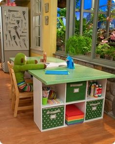 book shelves, plywood, cloth ... .homemade craft table by valarie