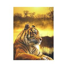 "SOLD #Tiger and Sunset Cotton Linen #WallTapestry 60""x 80"" design by #ErikaKaisersot sold by @Artsadd"