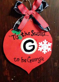 Georgia Bulldogs Christmas Door Hanger by delinskidesigns on Etsy