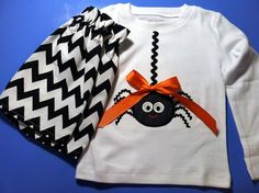 Pre-order listing for Baby or toddler Halloween Set - Embroidery and appliqued girl spider and skirt to match on Etsy, $25.00
