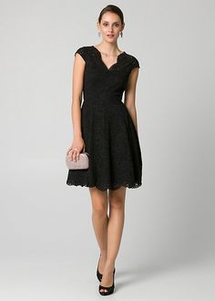 b4edb4dd33a Corded Lace V-Neck Cocktail Dress - Corded lace and illusion sleeves brings  romantic charm to a stunning V-neck cocktail dress with a fit & flare  silhouette ...
