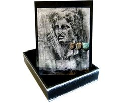 by kvs-artcreations.the bust of Alexander the Great.is painted by Eva Arvanitidou Decoupage Box, Alexander The Great, Macedonia, Bookends, Greek, Objects, Decor, Decoration, Decorating