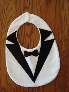 Items similar to BABY tuxedo bib with satin lapels & bowtie, white flannel on Et. - Items similar to BABY tuxedo bib with satin lapels & bowtie, white flannel on Etsy BAB - Baby Sewing Projects, Sewing For Kids, Sewing Crafts, Quilt Baby, Baby Tuxedo, White Tuxedo, Tuxedo Suit, Baby Bibs Patterns, Bib Pattern