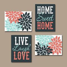 WALL ART CANVAS or Prints Live Laugh Love Home Sweet Home Quote  Artwork Picture Flower Burst Floral Set of 4 Choose Your Colors Home Decor