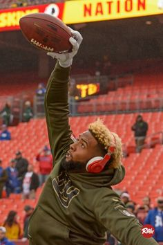 """Odell Beckham Jr. pre game warm up.  Quote """"Don't try to be better than anyone else just accept you for who you are"""""""