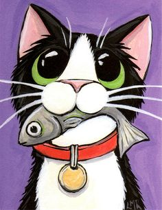 Shop Cute Cat Eating A Fish Postcard created by LisaMarieArt. I Love Cats, Crazy Cats, Cute Cats, Art Fantaisiste, Image Chat, Cat Quilt, Art Et Illustration, Cat Illustrations, Cat Drawing