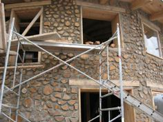 Cordwood Homes and Barns Cordwood Homes, Log Wall, Dome House, Brick Flooring, Unusual Homes, Natural Building, Earthship, Stone Houses, Prefab Homes