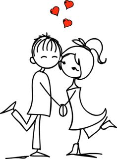 Illustration of Valentine doodle boy and girl vector art, clipart and stock vectors. Valentine Doodle, Valentines, Stick Figures, Couples In Love, Drawing People, Rock Art, Doodle Art, Painted Rocks, Wedding Cards