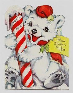 vintage Christmas greeting card Polar Bear