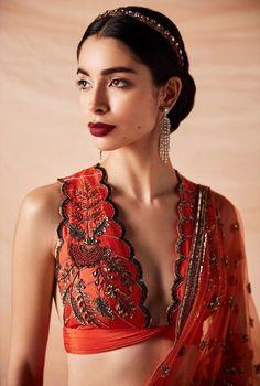 Indian blouse designs that make for perfect bridal inspiration for you. Raight off the runway. Saree Blouse Neck Designs, Fancy Blouse Designs, Indian Blouse Designs, Indian Dresses, Indian Outfits, Kaftan, Churidar, Anarkali, Lehenga Choli