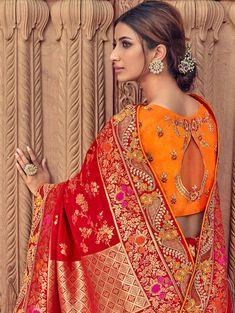 Red Banarasi Silk Designer Woven Saree with Embroidered Paisley Border Tussar Silk Saree, Art Silk Sarees, Chiffon Saree, Embroidery On Clothes, Embroidered Clothes, Embroidered Silk, Designer Silk Sarees, Designer Dresses, Sleeves Designs For Dresses