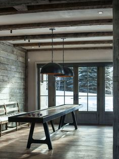 Mountain rustic home with a modern twist boasts glorious views in Idaho Wood Ceilings, Ceiling Beams, Aspen House, Modern Mountain Home, Living Room Flooring, Garage Design, Room Dimensions, Modern Rustic, Cladding