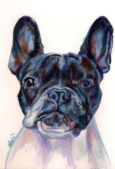 Colourful watercolour of Quoi a French Bulldog with by verf