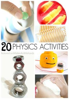 Simple Physics Activities for Kids. Explore a few of the many concepts that make up physics with fun physics activities even young kids can do. Fun science experiments for preschool, kindergarten, and grade school age kids. Also includes STEM activities. Science Activities For Kids, Stem Science, Easy Science, Preschool Science, Middle School Science, Elementary Science, Science Classroom, Science Lessons, Stem Activities