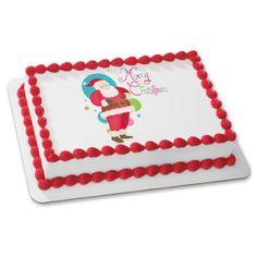 Santa Merry Christmas Edible Cake Topper.