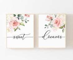 Floral Calligraphy Print Sweet Dreams Set of 2 Prints Above Bed Art Above Crib Art Floral Watercolor Art Floral Decor Nursery Print Girl Nursery, Nursery Decor, Watercolor Flowers, Watercolor Art, Calligraphy Print, Cottage Art, Nursery Prints, Nursery Letters, Floral Nursery
