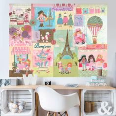 Oopsy Daisy A Piece of Paris by Winborg Sisters Wall Decal Pink Crib, Baby Girl Crib Bedding, Girl Cribs, Name Wall Decals, Wall Stickers, Pumpkin Display, Dream Wall, Hand Painting Art