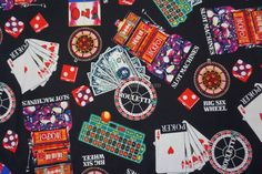 Poker Casino Roulette Chips Card deck print on black  Cotton fabric upholstery bedroom curtains cushions dress making fabric - Per Metre