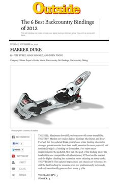 Marker Bindings Featured online in Outside Magazine's
