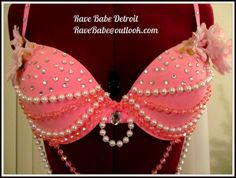 Pink Rave Bra with Rhinestones, Pink and Pearl beads with Pink Flowers! Princess Fairy inspired! Size 34C t-shirt bra Email RaveBabe@outlook.com to purchase.  facebook.com/RaveBabeDetroit #rave #edm