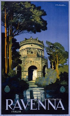 Italian color lithograph poster, originally 100 x 62cm,åÊ made in the 1920's by Attilio Ravaglia and funded by the Ente Nazionale Industrie Turistiche (Italy). This poster was created by the Napoli, R