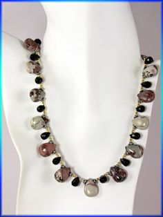 Gem Stone Bead Necklace of Mauve Picture Jasper