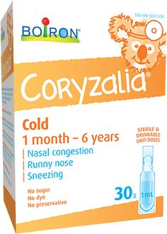 Coryzalia® soothes cold symptoms in children and babies aged 1 month to 6 years.   The average child comes down with six to eight colds a year. Looking for an effective way to alleviate their symptoms and make them feel better fast? Look no further than Coryzalia®!