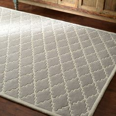 nuLOOM Handmade Lattice Wool Grey Rug (7' 6x 9' 6)