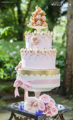Marie Antoinette inspired pink and gold wedding cake WedLuxe Magazine