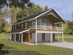 Image Of The Model C 511 Our Smallest Chalet House Plan Design With Tuck Under Garage