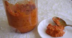 Ajvar and aijvar (Cyrillic: ajвар/aивар; pronounced [ajʋar]) is relish, made principally from red bell peppers, with eggplant, garlic and chili pepper. Albanian Recipes, Croatian Recipes, Croatian Cuisine, Low Carb Vegetarian Recipes, Low Carb Recipes, Relish Recipes, Roast Eggplant, Roasted Peppers