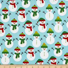 Kaufman Jingle 4 Snowmen Aqua from @fabricdotcom  Designed by Ann Kelle for Robert Kaufman, this classically modern cotton print features bold repetitive designs. Perfect for quilting, apparel, and home decor accents. Colors include aqua, red, green, yellow, orange, black and white.