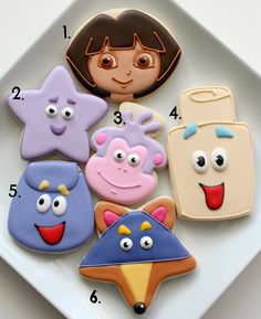 Dora Cookies with Simple Cutters via @SweetSugarBelle {Callye Alvarado}