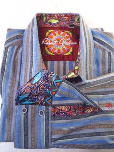 Robert Graham Blue Gray Tan Striped Embroidered Flip Cuff Shirt  - XL/TG * #RobertGraham #ButtonFront