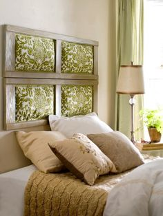 I love this one too! Window frame with fabric filled where panes would go!  Genius!