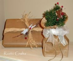 gift wrap ideas using Kraft paper and paper bags