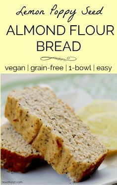 Lemon Poppy Seed Almond Flour Bread (Grain-Free, Vegan) - Moist, lightly sweet, and very lemon-y poppy seed bread made with almond flour! It is naturally gra - Low Carb Recipes, Whole Food Recipes, Cooking Recipes, Gluten Free Recipes, Baby Recipes, Cooking Pork, Cooking Turkey, Healthy Recipes, Almond Flour Bread