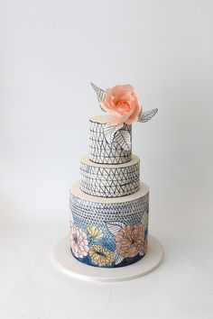 hand drawn wedding cake