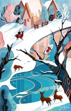 New nature landscape illustration behance Ideas Art And Illustration, Illustrations And Posters, Graphic Design Illustration, Cartoon Drawings, Art Drawings, Collages, Illustrators, Concept Art, Artwork