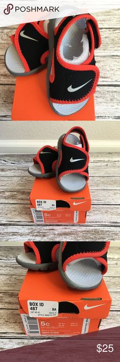 2c43d22f97cb00 Nike Sunray Adjust Slide Sandals Shoes 5C NEW NIB Nike Sunray Adjust 4 (TD)  Slide Sandals Shoes sz 5C black   crimson Toddler Kids Adjustable back    front ...