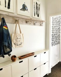 Elaine Gaito's Toronto Home Tour Is Filled With Local Art and Old Records tiny entryway storage hack Entryway Shoe Storage, Entryway Decor, Hall Storage Ideas, Small Entryway Organization, Kitchen Entryway Ideas, Front Door Shoe Storage, Organized Entryway, Hallway Decorations, Entryway Furniture
