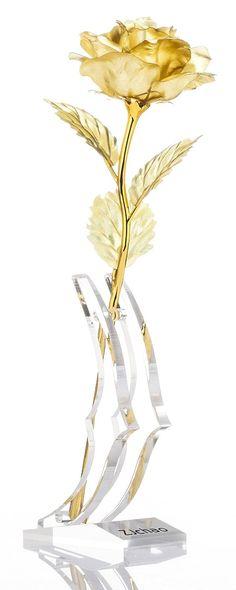 "Amazon.com - ZJchao 24k Gold Dipped Rose Flowers 10"" Long Stem - Golden Rose"
