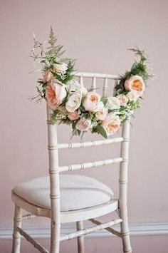 Wedding Flower Decoration Check out these simple chic wedding chair ideas for a spring or summer wedding. - Wedding Stylist, Kirsten Butler aka Little Wedding Helper gives us practical, stylish chair decor inspiration, that won't cost the earth Chic Wedding, Spring Wedding, Elegant Wedding, Floral Wedding, Dream Wedding, Magical Wedding, Summer Wedding Flowers, Flower Garland Wedding, Floral Garland